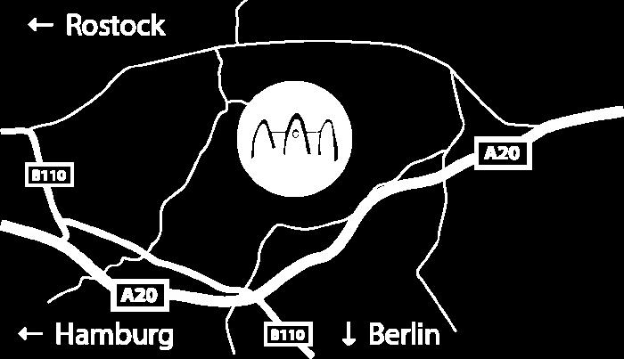 Anfahrtskizze zum Gutshaus Ehmkendorf in Mecklenburg Vorpommern